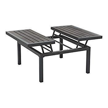 Modern Square Coffee Table, Dark グレー Gray, Gray, Stone Aluminum, Outdoor Pa