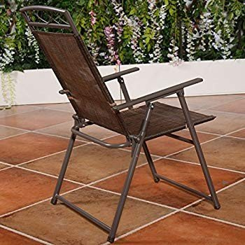 MB New Set of 4 Patio Folding Sling Chairs Steel Textilene Camping Dec