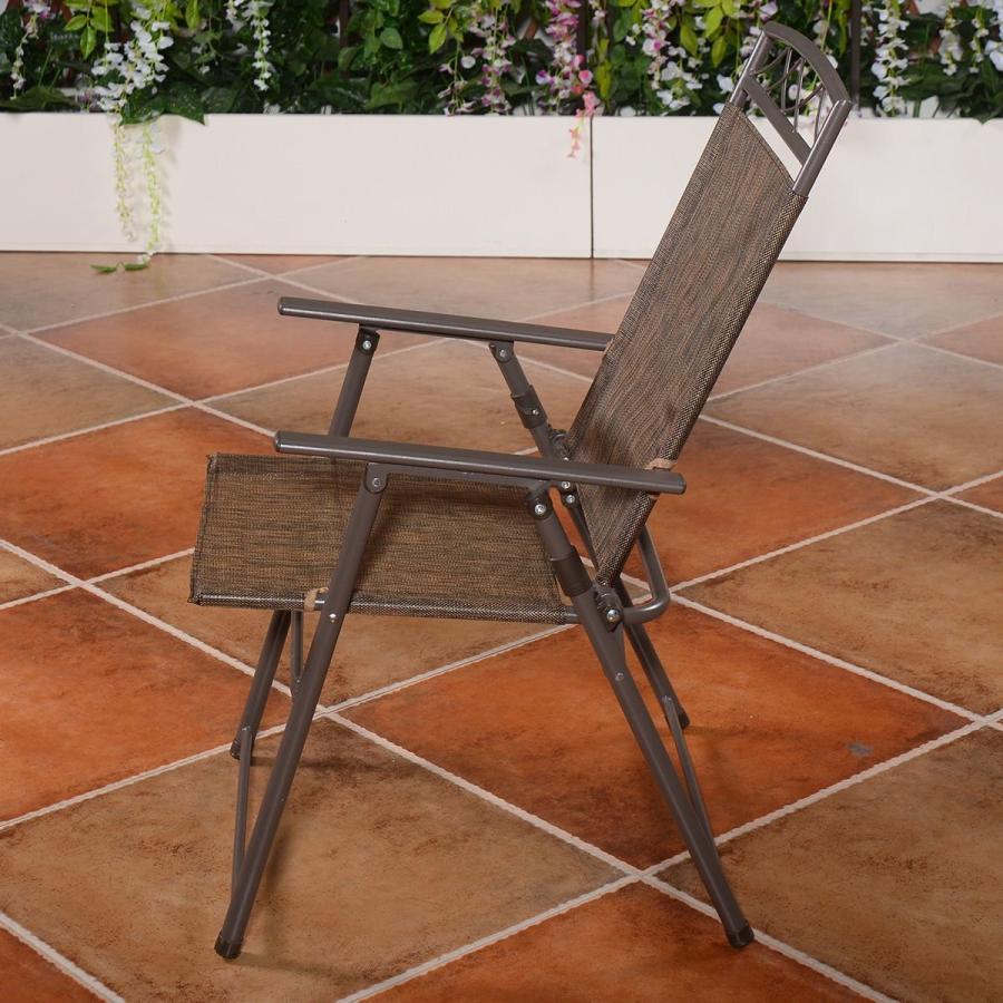 Asher Amada Set of 4 Patio Folding Sling Chairs Steel Textilene Campin