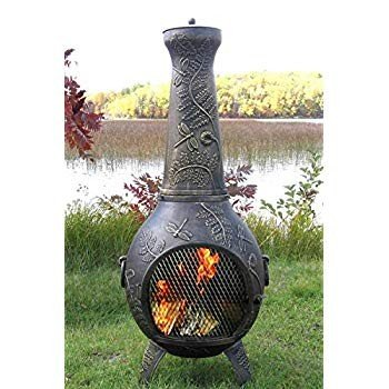 The Blue Rooster CAST Aluminum Dragonfly Wood Burning Chiminea in Gold