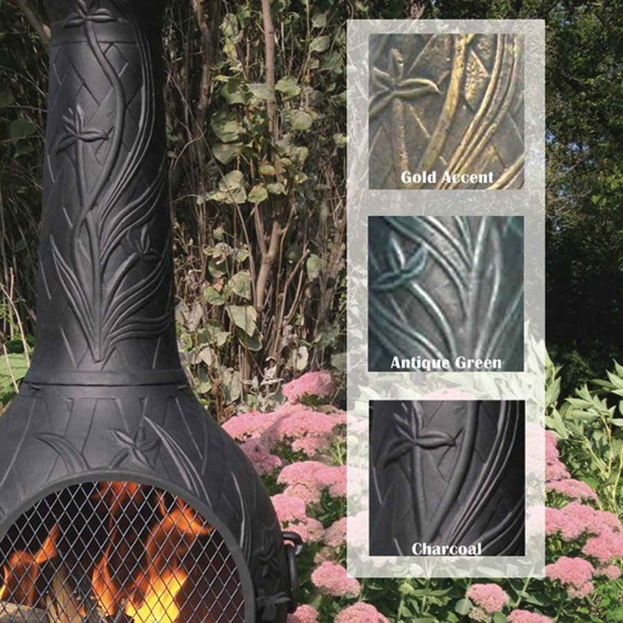 The Blue Rooster CAST Aluminum Orchid Style Wood Burning Chiminea in A