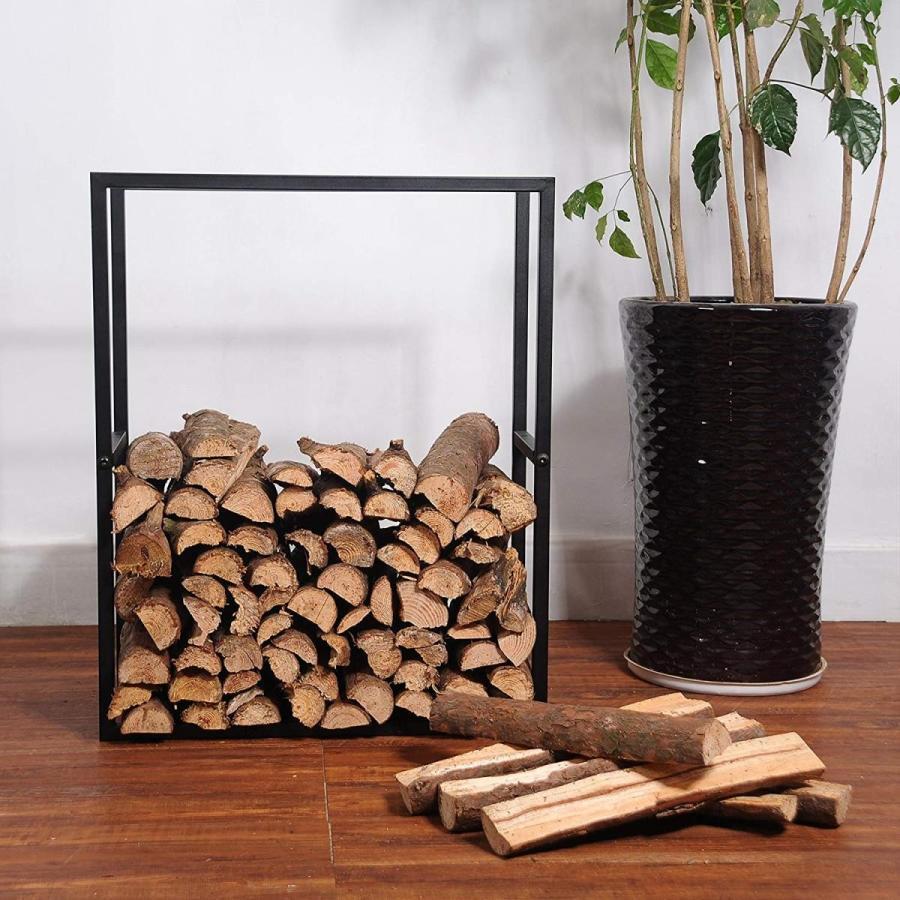 MyGift 黒 Metal Powder Coated Finish Firewood Holder Rack/Indoor &