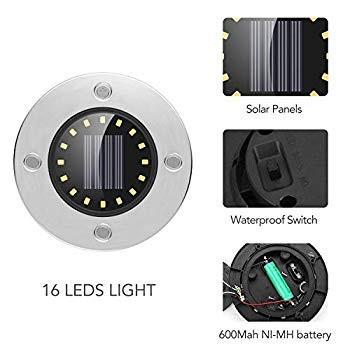 Solar Ground Lights, Disk Lights 16 LED Outdoor Waterproof Garden Ligh