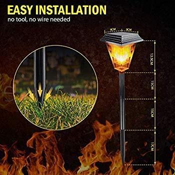Solar Torch Lights, Flickering Flames Torches Garden Light, Outdoor Wa