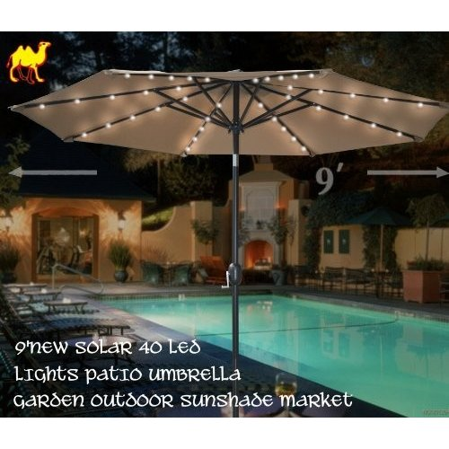 Strong Camel 9'New 40 LED Lights Patio Umbrella with Crank TILT Garden