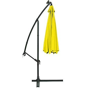 AK Energy 10ft 黄 Outdoor 24 Solar LED Light Patio Offset Umbrella