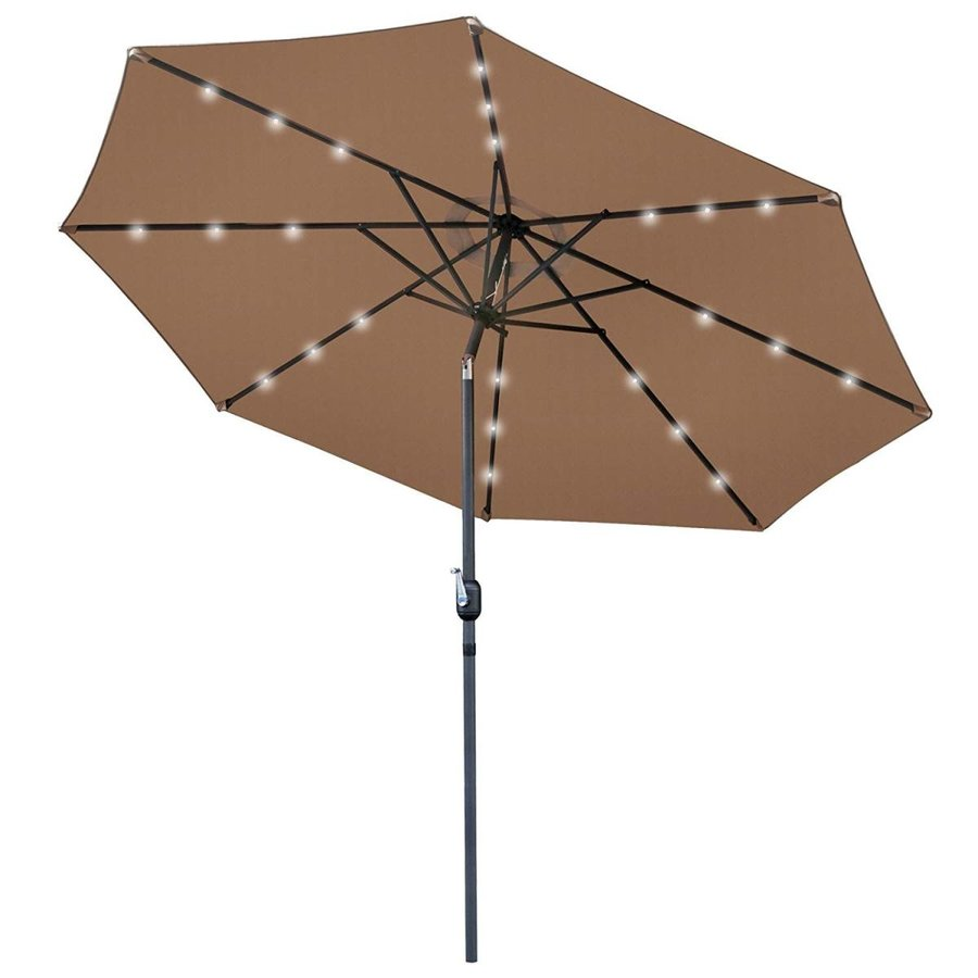 HomGarden 10ft Solar Patio Umbrella Sunbrella LED Power Table w/Tilt A