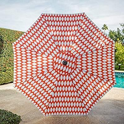 Outdoor Collection Coral オレンジ 白い Modern Geometric Dots 9 Foot Pat