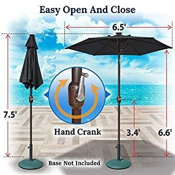 BenefitUSA 6.5ft Outdoor Patio Umbrella LED Lighted Tilt Aluminum Gard