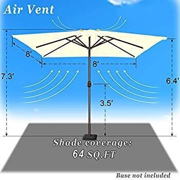 Strong Camel 8' x 8' Patio Umbrella Outdoor Sunshade Table Market Umbr