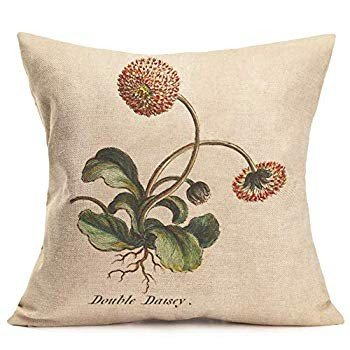 Asminifor Pillow Covers Retro Floral Flowers Amazing Rustic Effect Cot