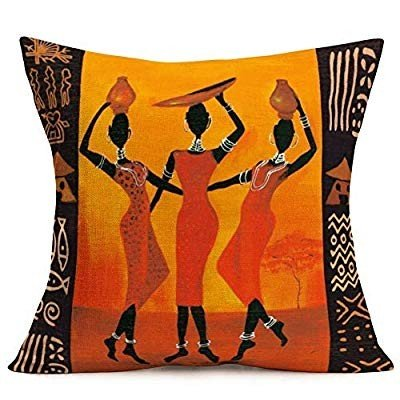 YANGYULU オレンジ African Tribal Throw Pillow Covers Cases Cotton Linen