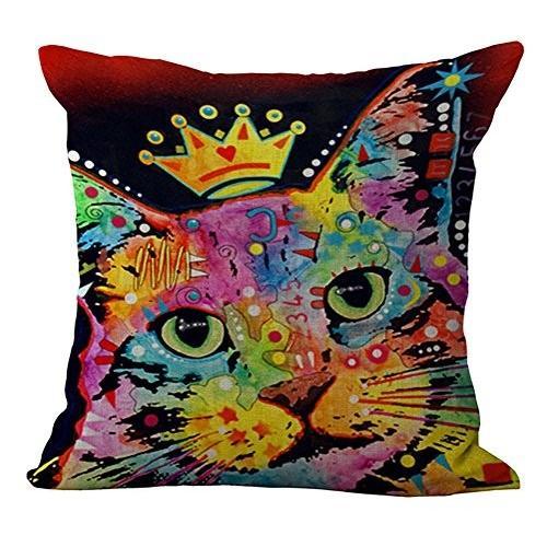 ChezMax Rainbow Cat Cushion Cover Cotton Linen Throw Pillow Pillow Pillow Case Sham 30c