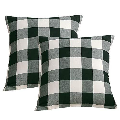 Andreannie Pack of 2, 黒 and 白い Buffalo Check Plaids Cotton Soft