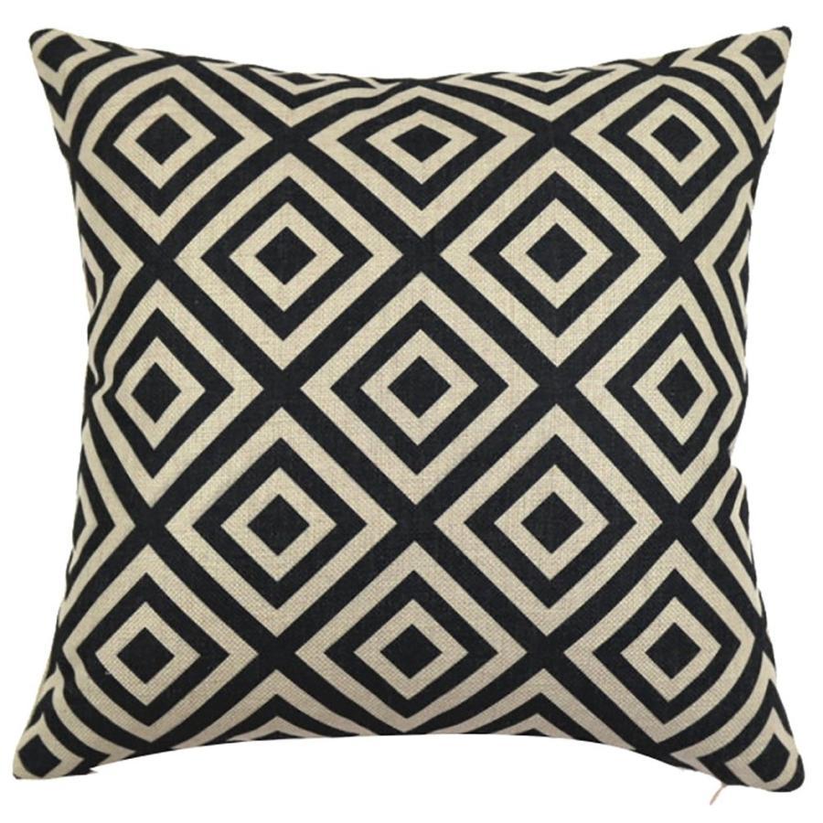 ChezMax Square 黒 白い Geometric Printed Cushion Cover Cotton Thro