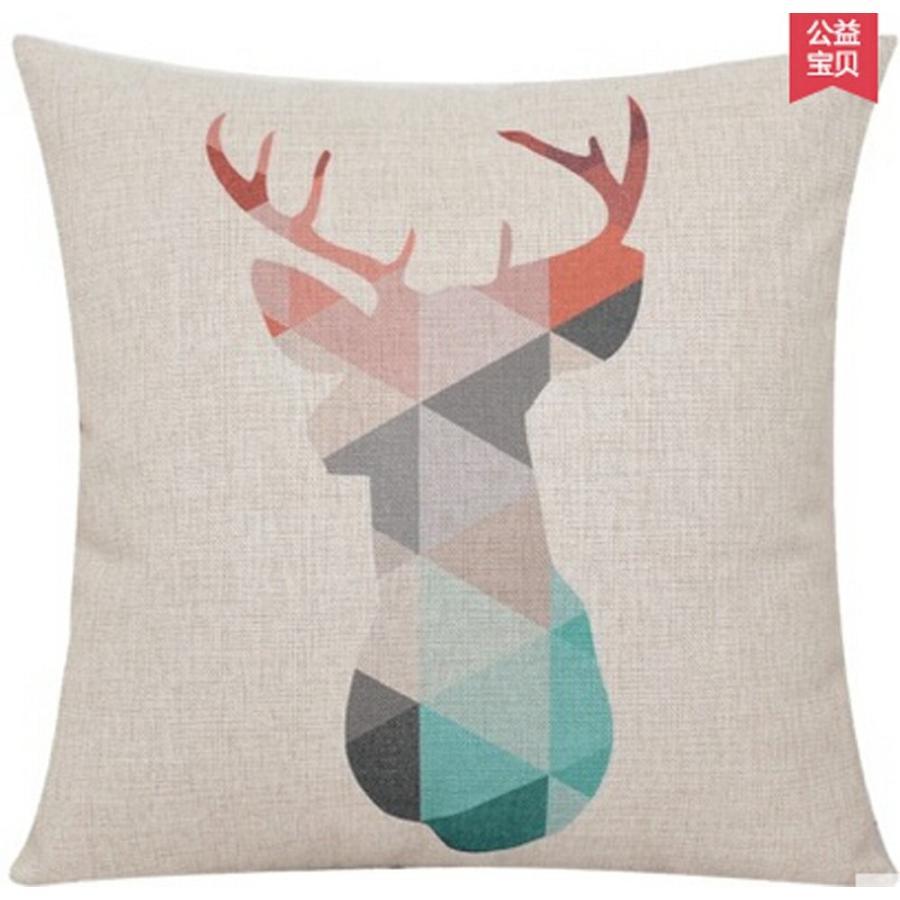 Elephant Deer Mountains Cotton Linen Throw Pillow Case Cushion Cover H