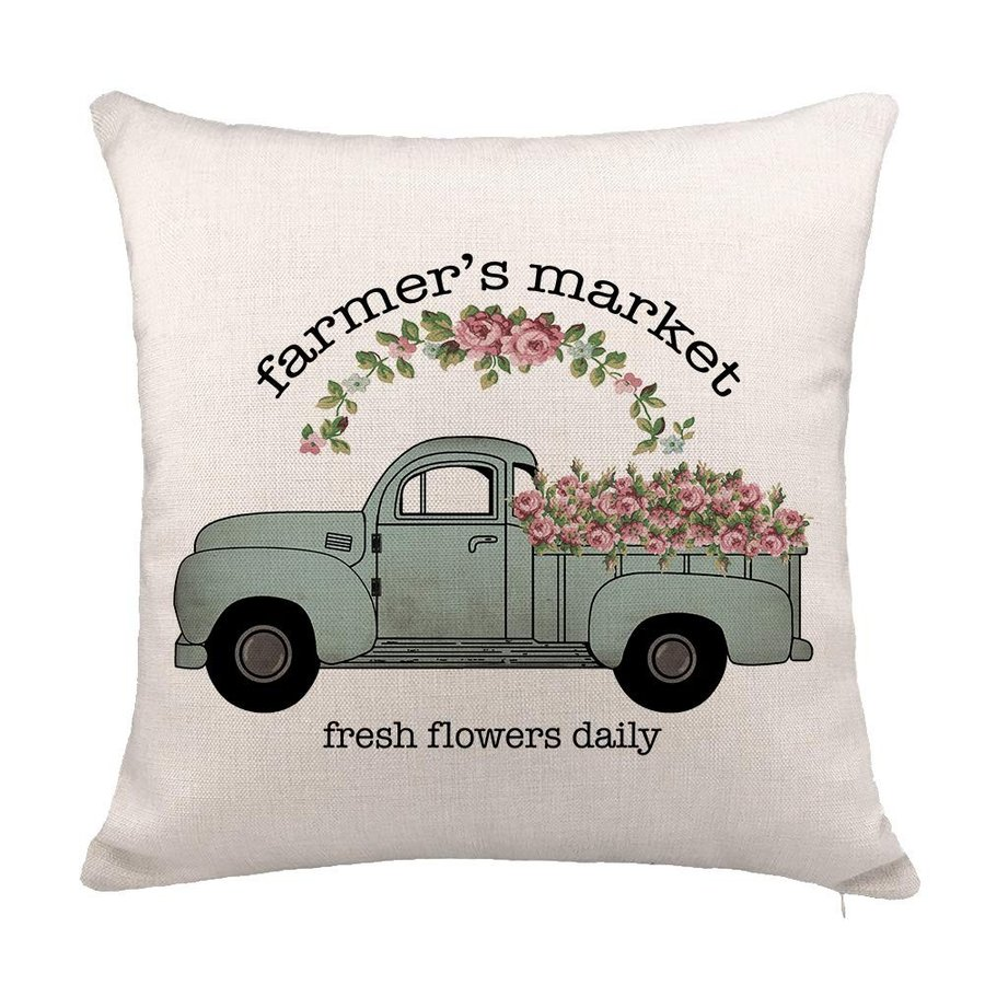 YOENYY Farmers Market Flower Truck Throw Pillow Cover Cushion Case for