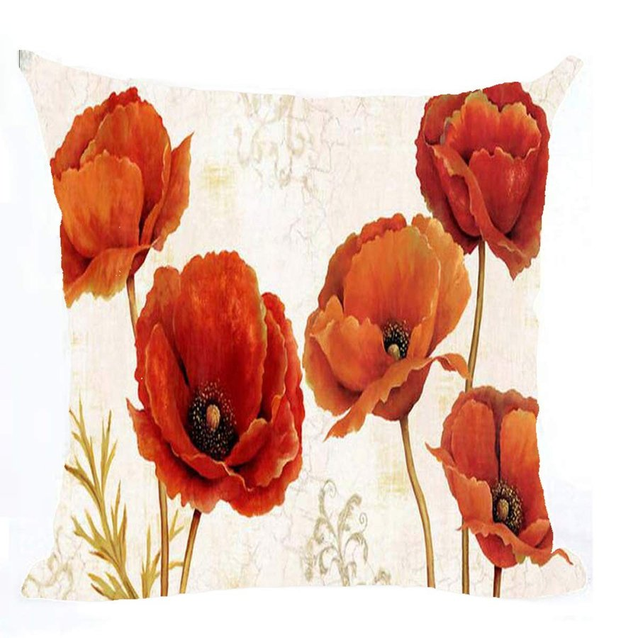Bnitoam Plant Flowers 赤 Poppy Cotton Linen Throw Pillow Covers Case