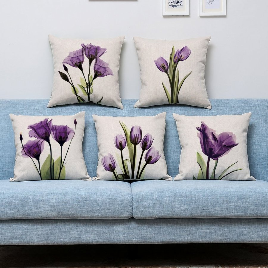 NATURALSHOW Print Elegant Tulip 紫の Flower LinenThrow Pillow Cover