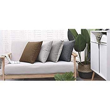 Jepeak Burlap Linen Throw Pillow Cover Cushion Case, Farmhouse Modern