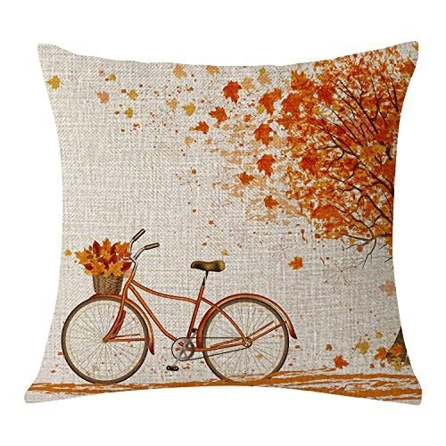 BLEUM CADE Autumn Fall Big Tree Pillow Cover Maple Leaf Bicycle Throw