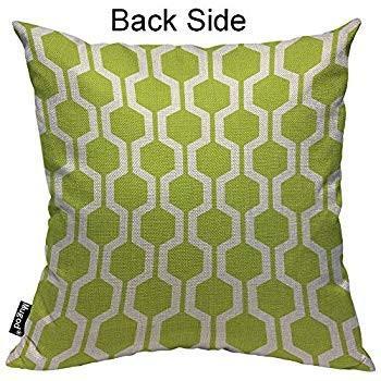 Mugod Hexagon Pattern Throw Pillow Geometric Trellis Polygon Lime Gree