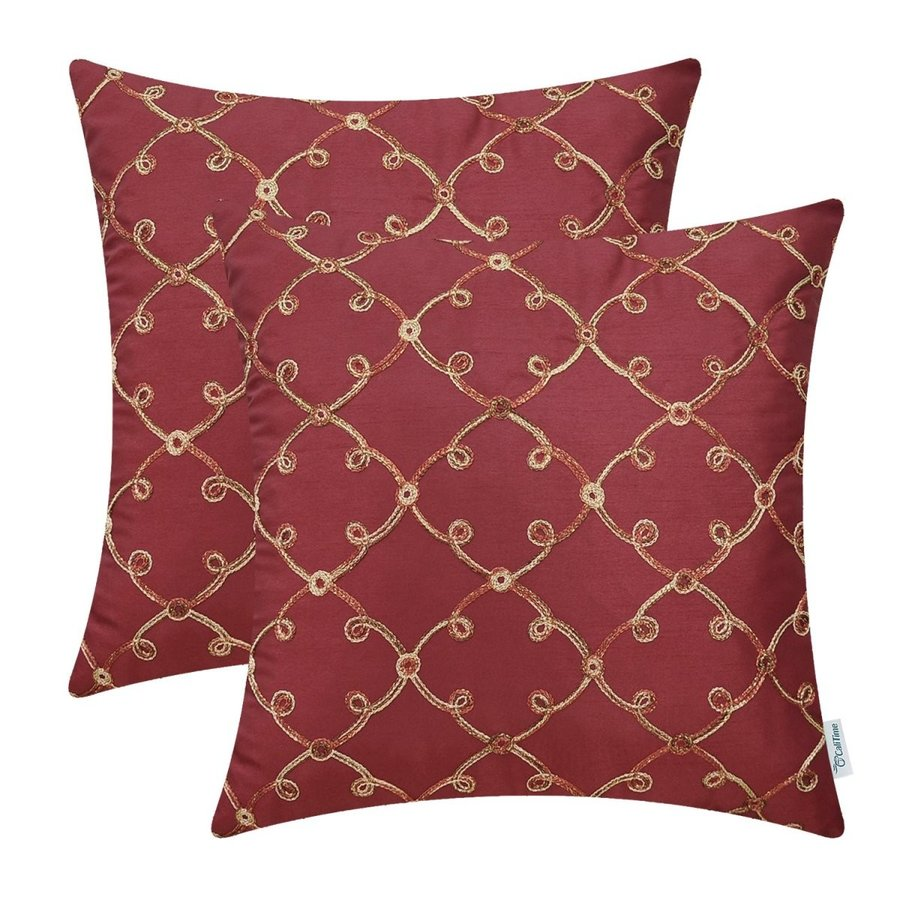 CaliTime Pack of 2 Faux Silk Throw Pillow Covers Cases for Sofa Couch