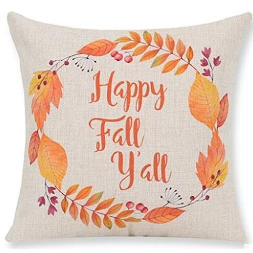 Andreannie Pumpkin Maple Leaf Wreath Happy Fall Vintage Letters Happy