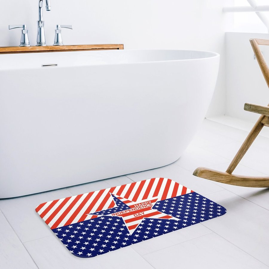 T&H Home American Flag Doormat, Rubber Backing, Non-Slip Bath Rug Mat,