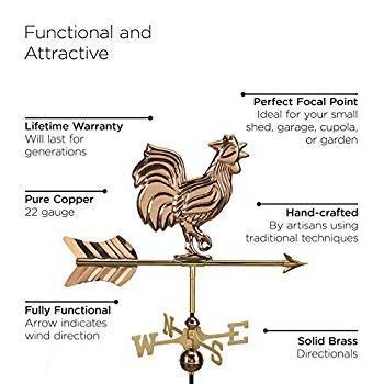 Good Directions 802PR Rooster Cottage Weathervane, Polished Copper wit