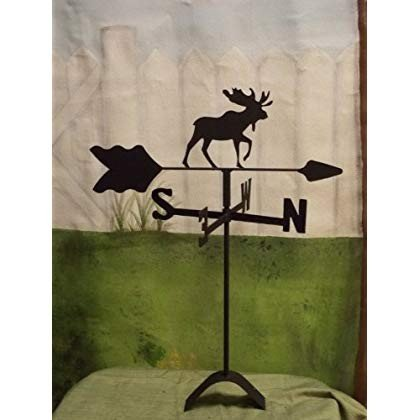 Moose Roof Mounted Weathervane 黒 Wrought Iron