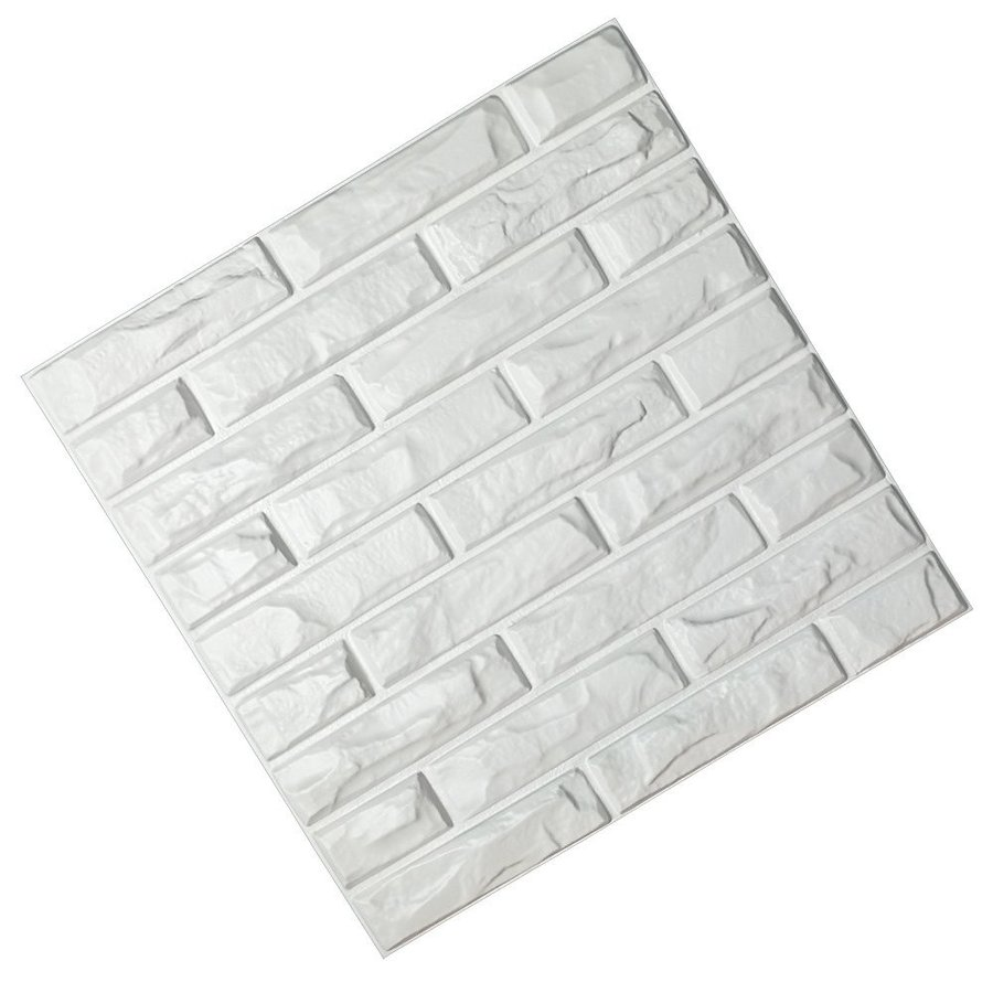 "Art3d PVC 3D Wall Panels 白い Brick Wall Tiles, 19.7"" 19.7"" x 19.7"" (12 Pac"