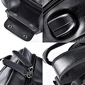 Douguyan PU Leather Backpack Casual School College Bag Book Bags Lapto