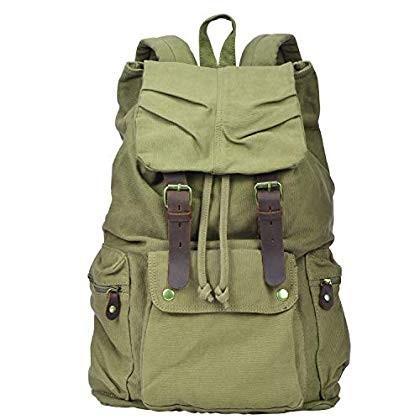 I-MART Canvas Leather Backpack Rucksack Satchel Bookbag Hiking Bag (Gr