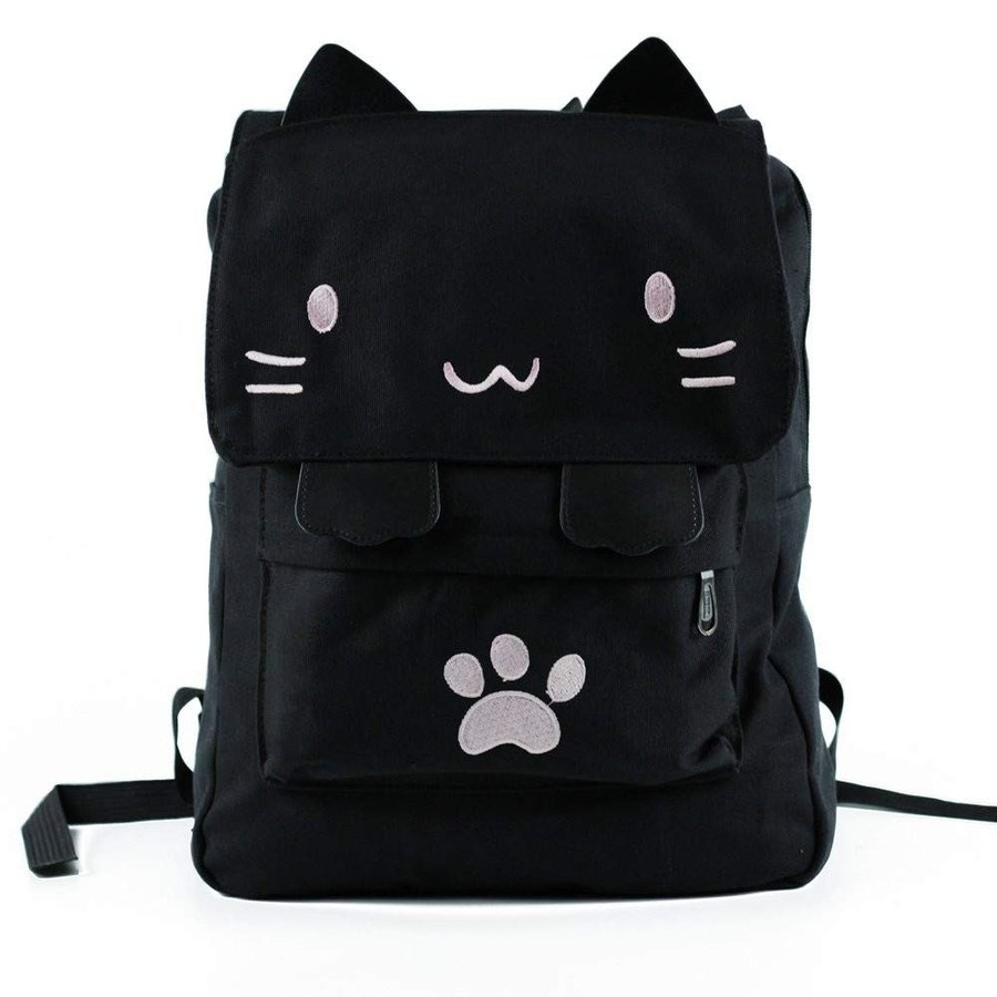 WILDFINDING 黒 College Cute Cat Embroidery Canvas School Laptop Bac