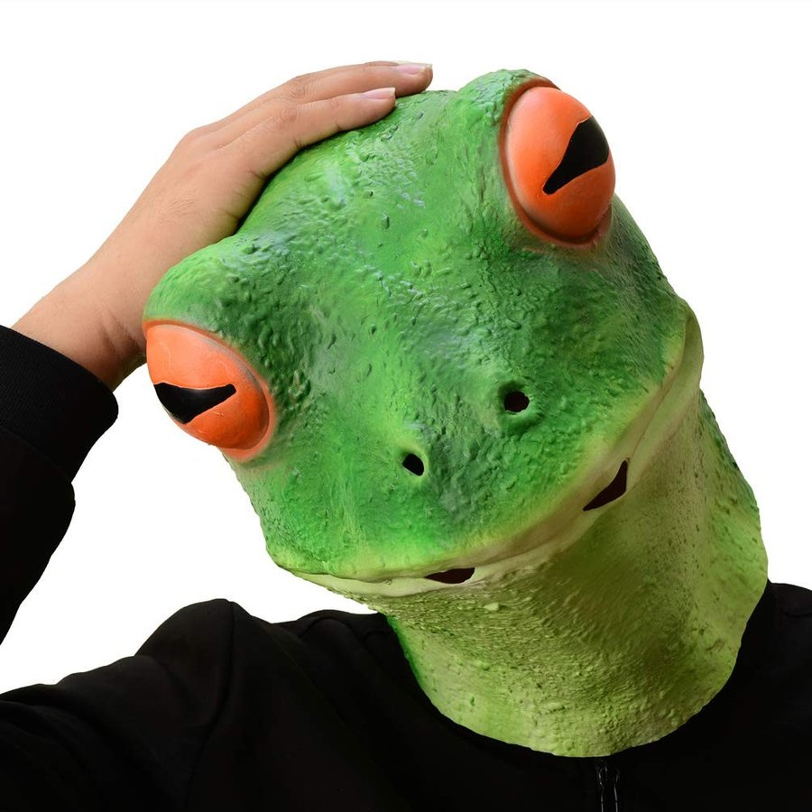 PARTY STORY Frog Mask Halloween Cosplay Costume Latex Animal Head Mask