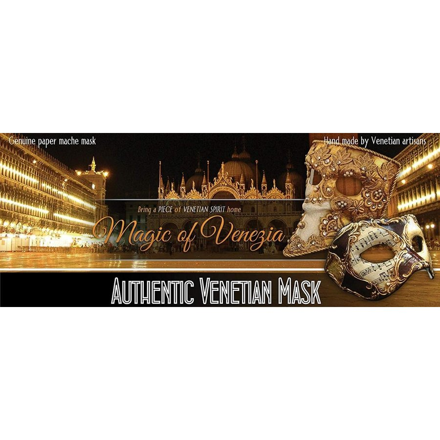 Venetian Eye Mask Colombina Capriccio for Men and Women (ゴールド)