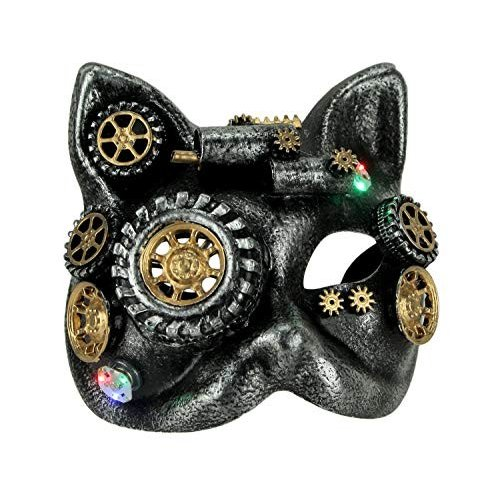 Tread Kitty LED Light Up Steampunk Cat Adult Halloween Mask, 銀