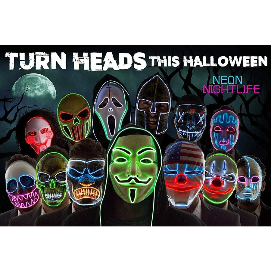 Neon Nightlife Men's Light Up Creepy Clown USA Flag Mask, 青, 白い