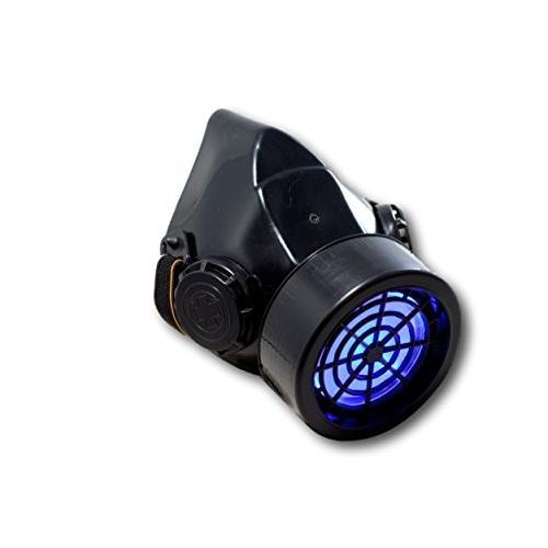 TrYptiX Men's LED 黒 Framed Steampunk Gas Mask Single Cartridge (On