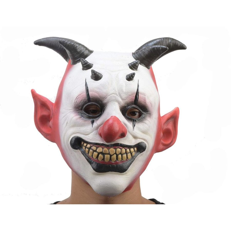 PARTY STORY Creepy Horned Clown Halloween Cosplay Costume Mask for Adu