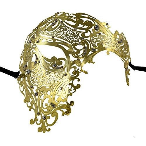 1Bay Men's Half Skull Masquerade Mask ゴールド