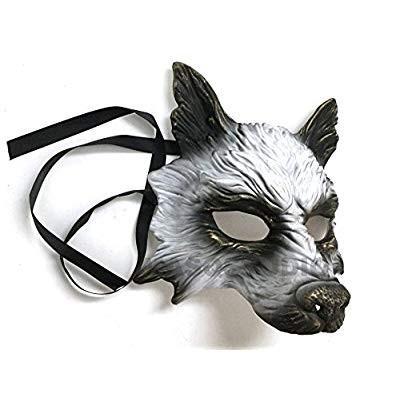 MasqStudio ゴールド 白い Wolf Mask Animal Masquerade Halloween Costume Co