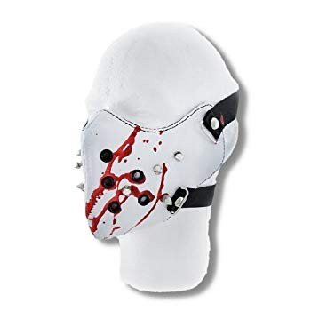 Creepy 白い Vinyl Spiked Half Face Mask Facemask Blood Spatter
