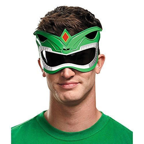Disguise Men's 緑 Ranger Adult 1/4 Costume Mask, 緑, One Size
