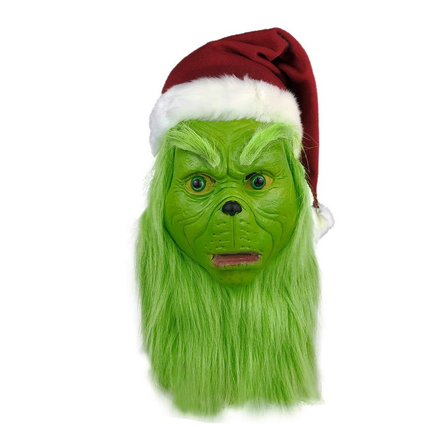 The Grinch Mask with Fur Cosplay Costume Mask Christmas Outfit Prop