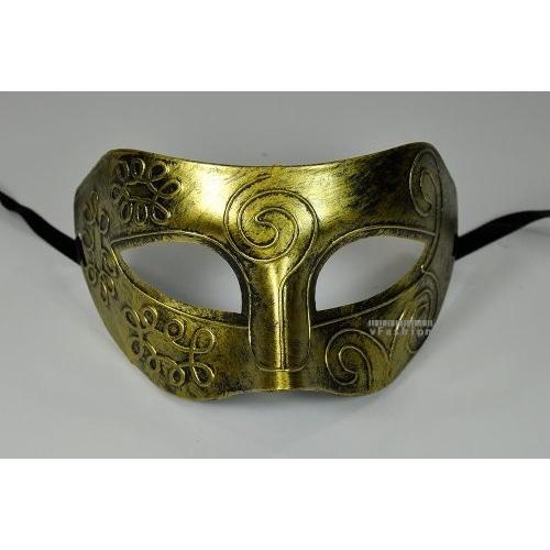 ゴールド Antique Greek Roman Warrior Men Venetian Mardi Gras Party Masquer