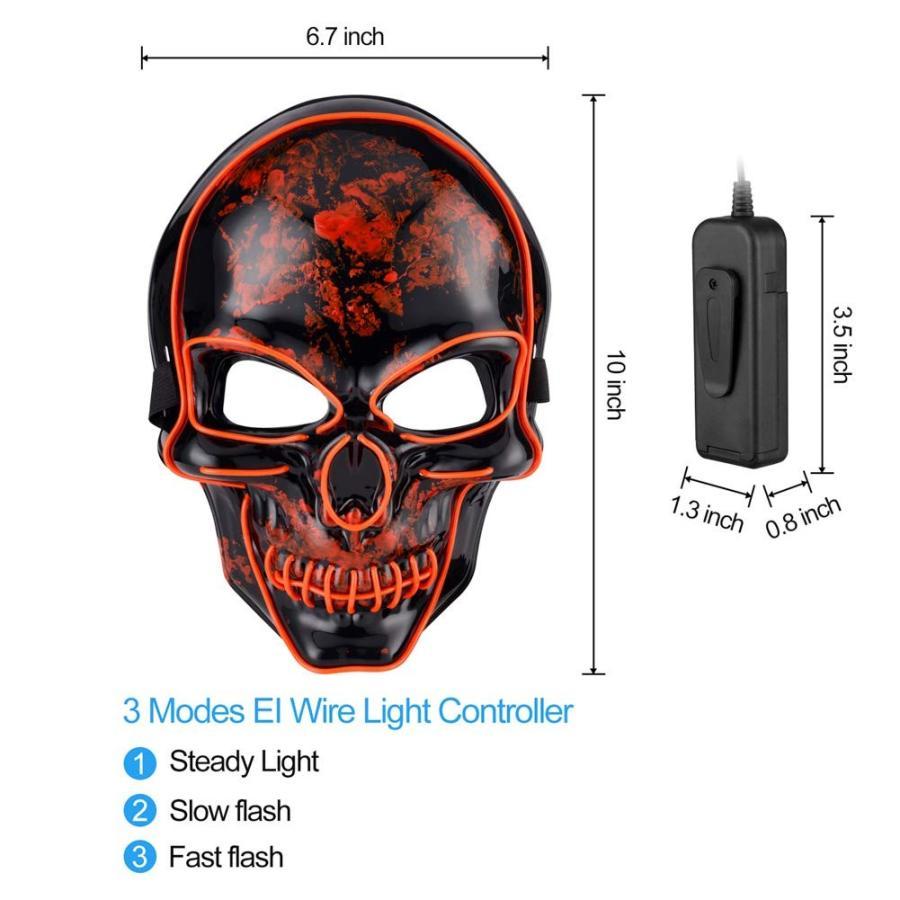 Halloween LED Skeletor Mask Light up Mask Cosplay LED Mask Frightening