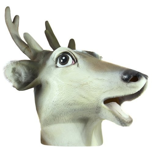 HMS Reindeer Realistic Animal Mask, 白い, One Size