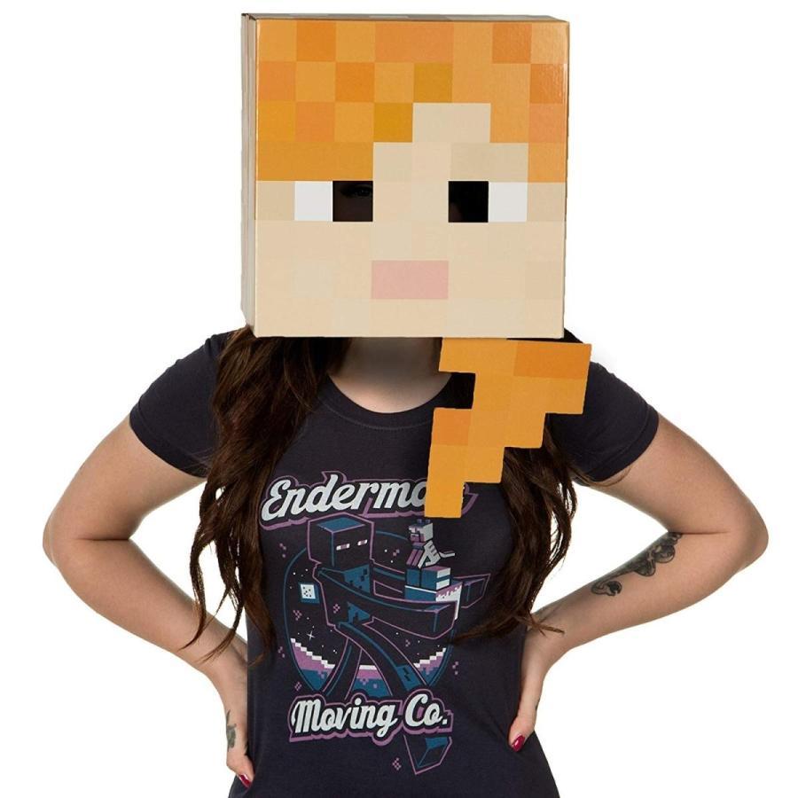 JINX Minecraft Alex Head Costume Mask, Cardboard, 12x12x12 inches